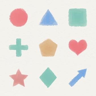 Zestaw kolorowych geometrycznych kształtów akwareli