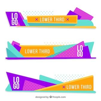 Zestaw kolorowych geometrycznych niższych części trzeciej