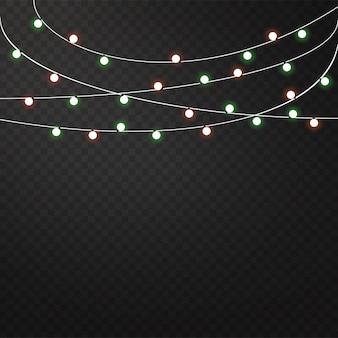 Zestaw kolorowych girland, ozdób świątecznych.