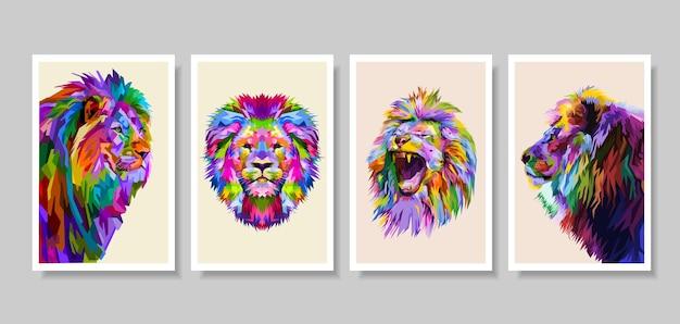 Zestaw kolorowych głowy lwa w stylu pop-art.