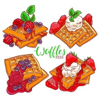 Zestaw kolorowych gofrów z różnymi jagodami i syropami. ręcznie rysowana ilustracja