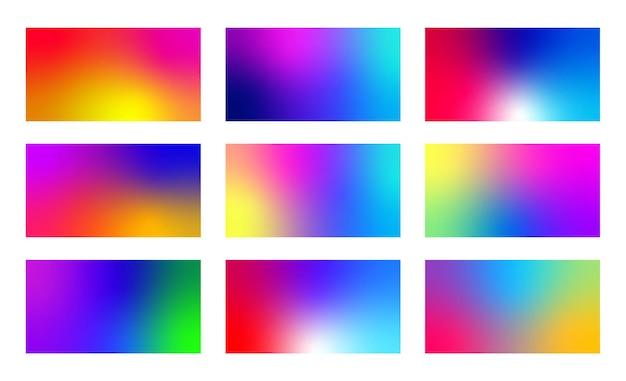 Zestaw kolorowych gradientów płynów. nowoczesne abstrakcyjne tła. minimalny, żywy wzór.