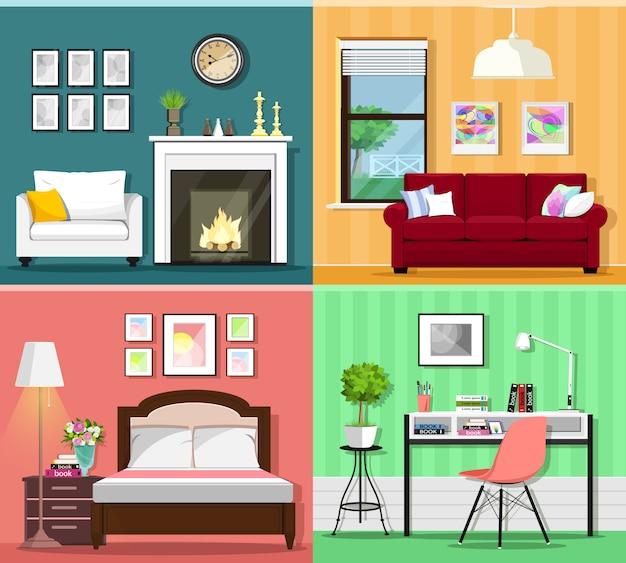 Zestaw kolorowych graficznych wnętrz pokoi z ikonami mebli: