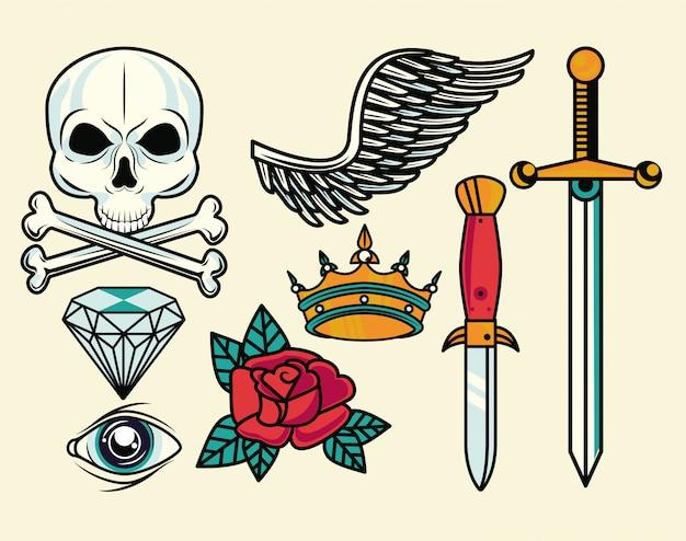 Zestaw kolorowych grafik tatuaży