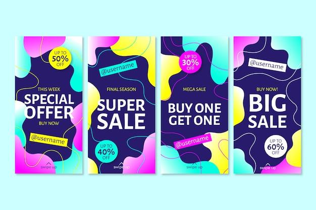 Zestaw kolorowych historii sprzedaży na instagramie