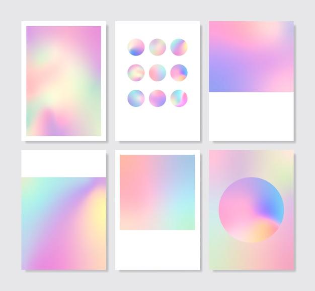 Zestaw kolorowych holograficzne tło gradientowe