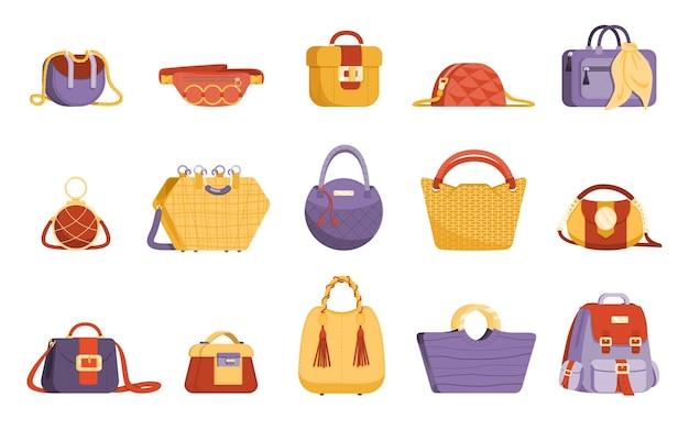 Zestaw kolorowych i modnych toreb damskich. akcesoria modowe różnych typów na białym tle