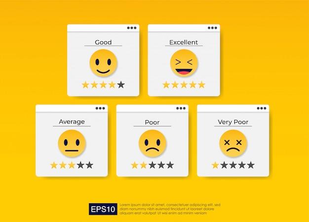 Zestaw kolorowych ikon emoji dla opinii klientów.