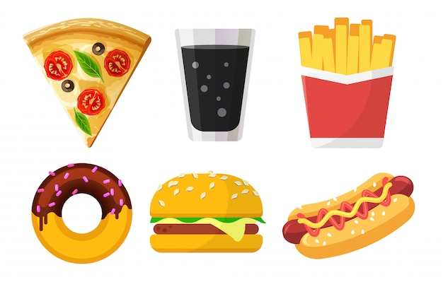 Zestaw kolorowych ikon fast food dla stron internetowych i aplikacji, pizzy, napojów gazowanych, frytek, pączków, hamburgerów, hot dog na białym