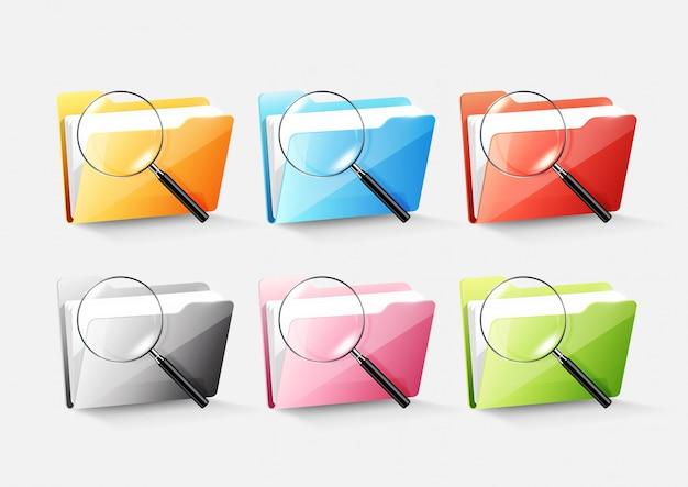 Zestaw kolorowych ikon folderu folderu z dokumentami na białym tle i szkła powiększonego na biały szary,