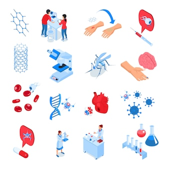 Zestaw kolorowych ikon izometrycznych laboratoriów badawczych z elementami i narzędziami do przyszłego rozwoju nauki