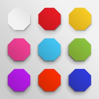 Zestaw kolorowych ikon ośmiokątnych.