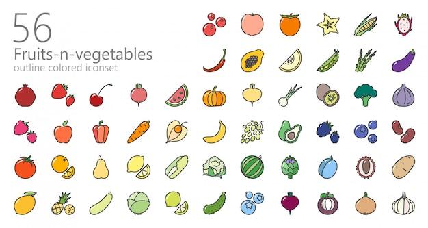 Zestaw kolorowych ikon owoców i warzyw