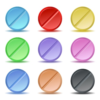 Zestaw kolorowych ikon pigułki.