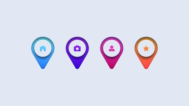 Zestaw kolorowych ikon pinezki mapy