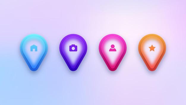 Zestaw kolorowych ikon pinezki na mapie