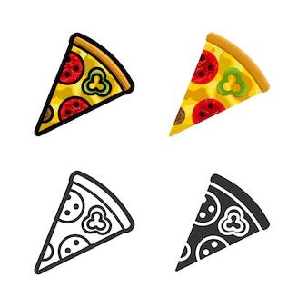 Zestaw kolorowych ikon pizzy