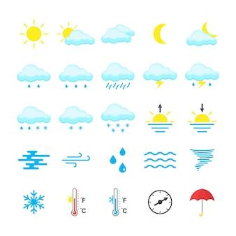 Zestaw kolorowych ikon pogody na białym tle. ilustracja wektorowa płaski.