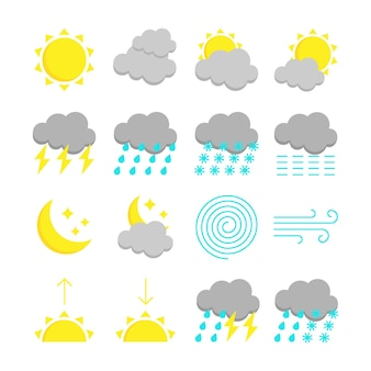 Zestaw kolorowych ikon prognozy pogody. 16 płaskich symboli na białym tle. ilustracja wektorowa