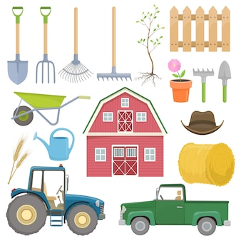 Zestaw kolorowych ikon sprzętu rolniczego.