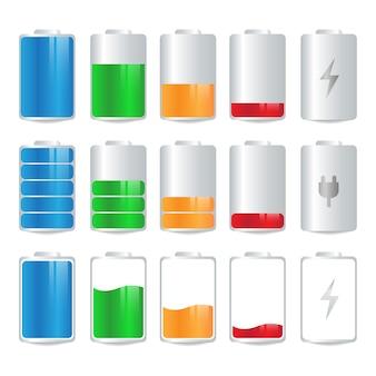 Zestaw kolorowych ikon wskaźnika ładowania baterii