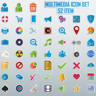 Zestaw kolorowych ikon.