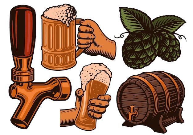 Zestaw kolorowych ilustracji do tematu piwa