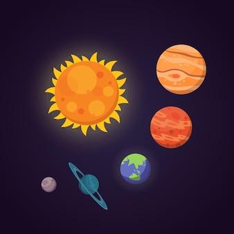 Zestaw kolorowych ilustracji jasnych planet