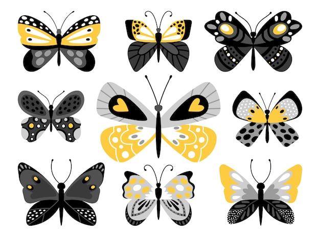 Zestaw kolorowych ilustracji motyle. tropikalne owady z żółtymi ornamentami na skrzydłach na białym tle wiązka na białym tle.