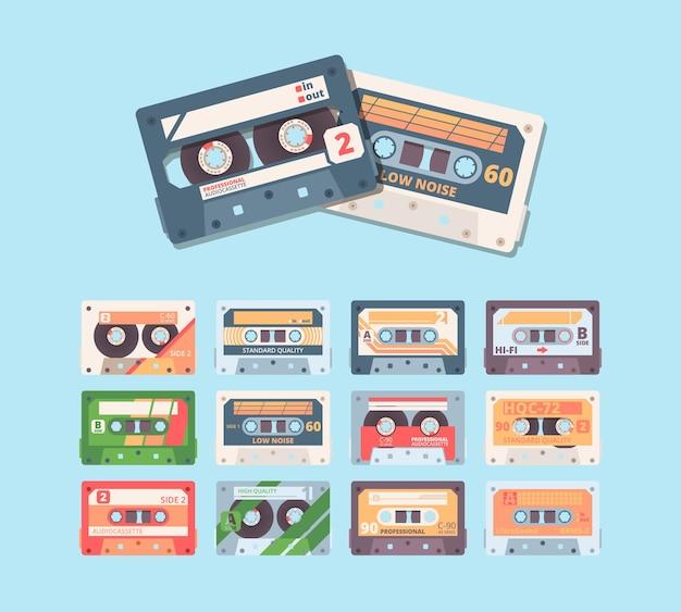 Zestaw kolorowych ilustracji płaskich retro kompaktowych kaset.