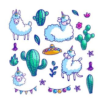 Zestaw kolorowych ilustracji ręcznie rysowane postacie lamy