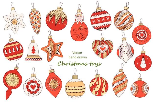 Zestaw kolorowych ilustracji szkicu. zabawki świąteczne ręcznie rysowane: kulki, dzwonek, matrioszka, rożek, gwiazdka.