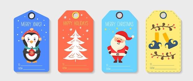 Zestaw kolorowych ilustracji tagi świąteczne