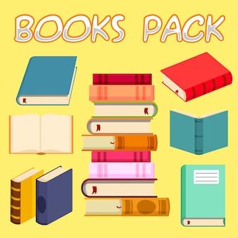 Zestaw kolorowych ilustracji wektorowych książek w płaskiej konstrukcji