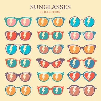 Zestaw kolorowych ilustracji wektorowych okulary. okulary przeciwsłoneczne w stylu retro