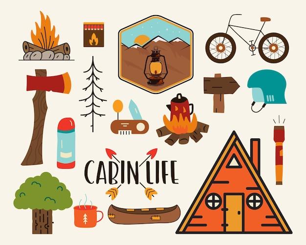 Zestaw kolorowych ilustracji wektorowych z elementami koncepcji van, ogniska, kempingu i przyrody