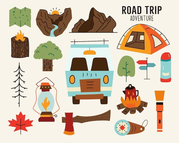 Zestaw kolorowych ilustracji wektorowych z elementami koncepcyjnymi van, siekierą, górami, kempingiem i przyrodą