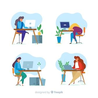 Zestaw kolorowych ilustrowanych programistów pracujących