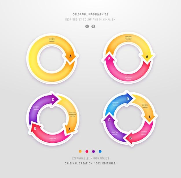 Zestaw kolorowych infografiki okrągłe w nowoczesnym stylu