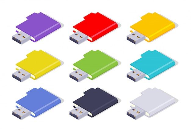 Zestaw kolorowych izometrycznych napędów flash usb