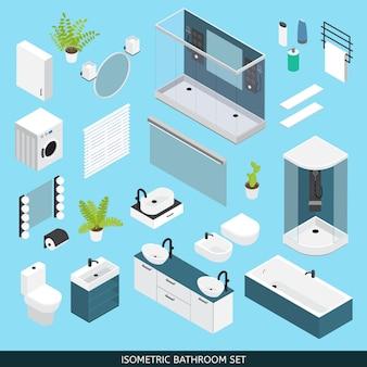 Zestaw kolorowych izometrycznych obiektów łazienkowych wraz z meblami i elementami potrzebnymi do naprawy