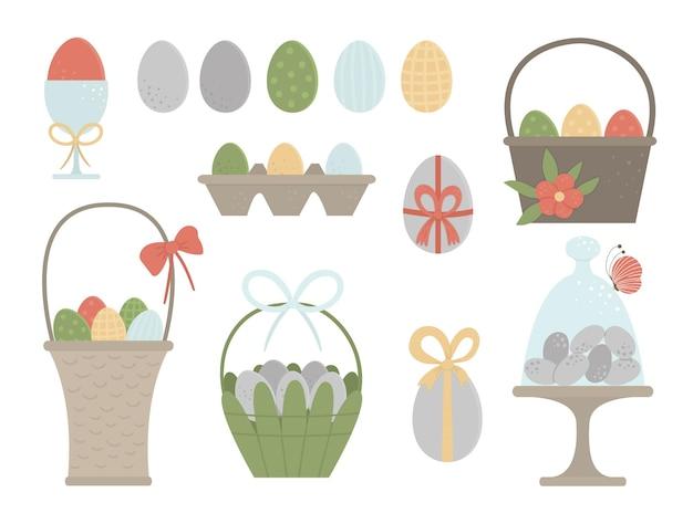 Zestaw kolorowych jaj i koszy z kokardkami, motylem i kwiatami. wielkanocne elementy tradycyjne i designerskie. kolekcja wiosny.