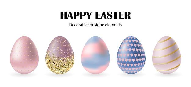 Zestaw kolorowych jaj wielkanocnych 3d z różnymi teksturami