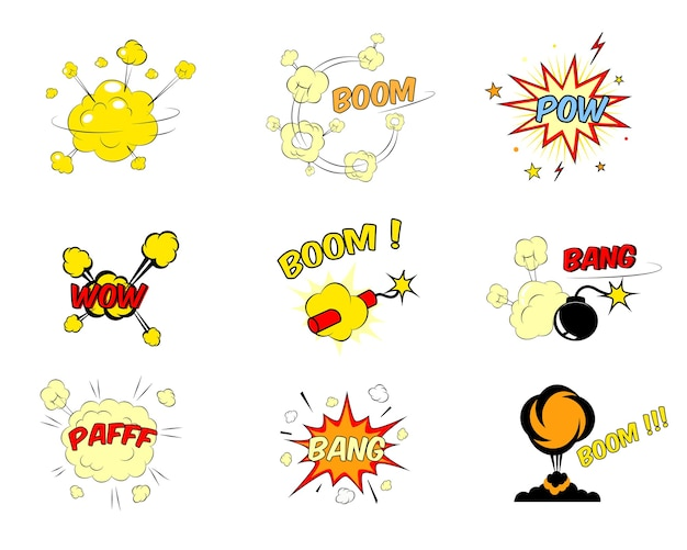 Zestaw kolorowych jasnoczerwonych i żółtych komiksów tekstowych eksplozji przedstawiających boom