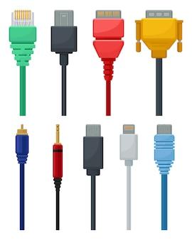 Zestaw kolorowych kabli. złącze wideo i audio, usb, dvi i sieciowe. temat technologii połączeń.