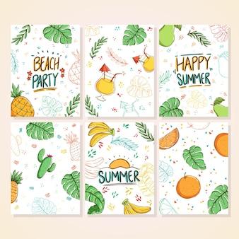 Zestaw kolorowych kart doodle lato piękne letnie plakaty z liśćmi bananowca ananas owoców pomarańczy banan kaktus i ręcznie napisany tekst