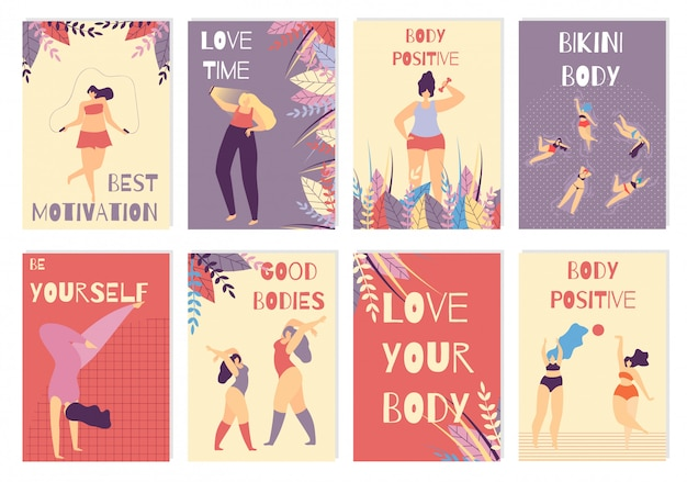 Zestaw kolorowych kart pozytywna motywacja ciała kobiety