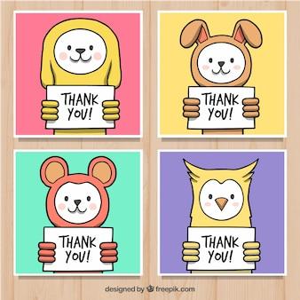 Zestaw kolorowych kart zwierząt z podziękowaniami plakaty