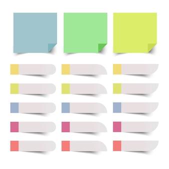 Zestaw kolorowych karteczek. ilustracja.