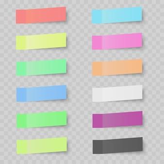 Zestaw kolorowych karteczek na przezroczystym tle